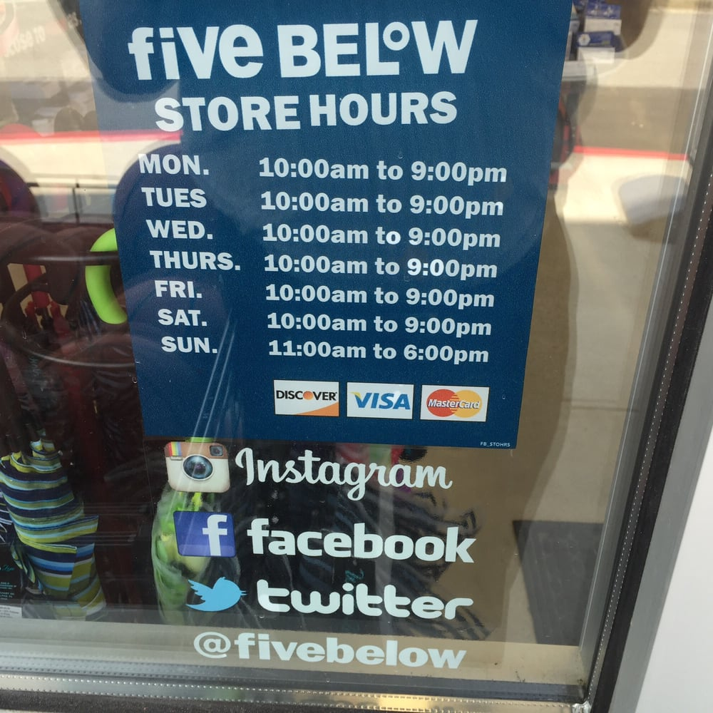 Five Below hours are fairly constant throughout the entire week, with the exception of shorter working hours on Sunday. Typically during the work week, Five Below hours are from 10 AM until 9 PM on Monday through Friday for most locations.