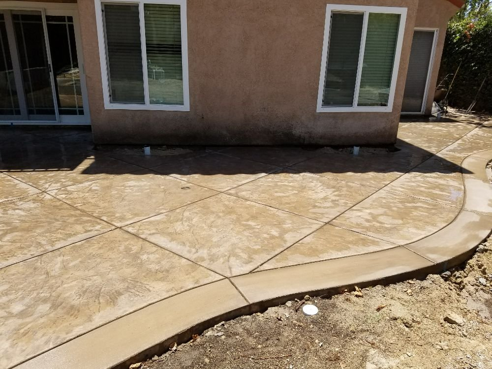 Stamped concrete Patio. Color:Sandstone Release:Nutmeg - Yelp