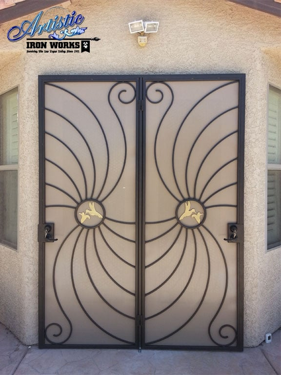 Wrought Iron Patio Security Screen Doors With Hummingbirds