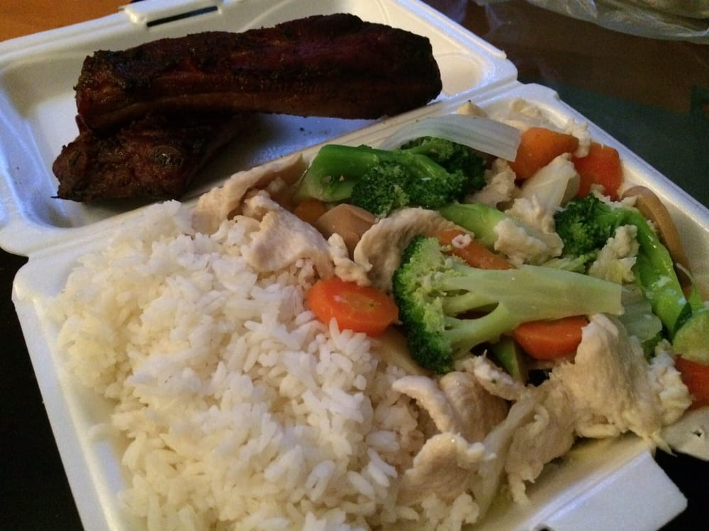 Steamed Chicken And Veggies With A Side Of Spare Ribs Yelp