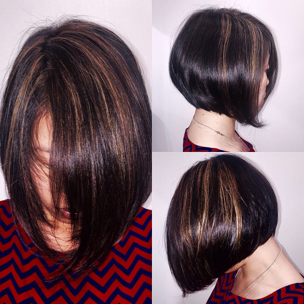 Sun Kissed Highlights On Natural Asian Hair With Modern A Line Bob