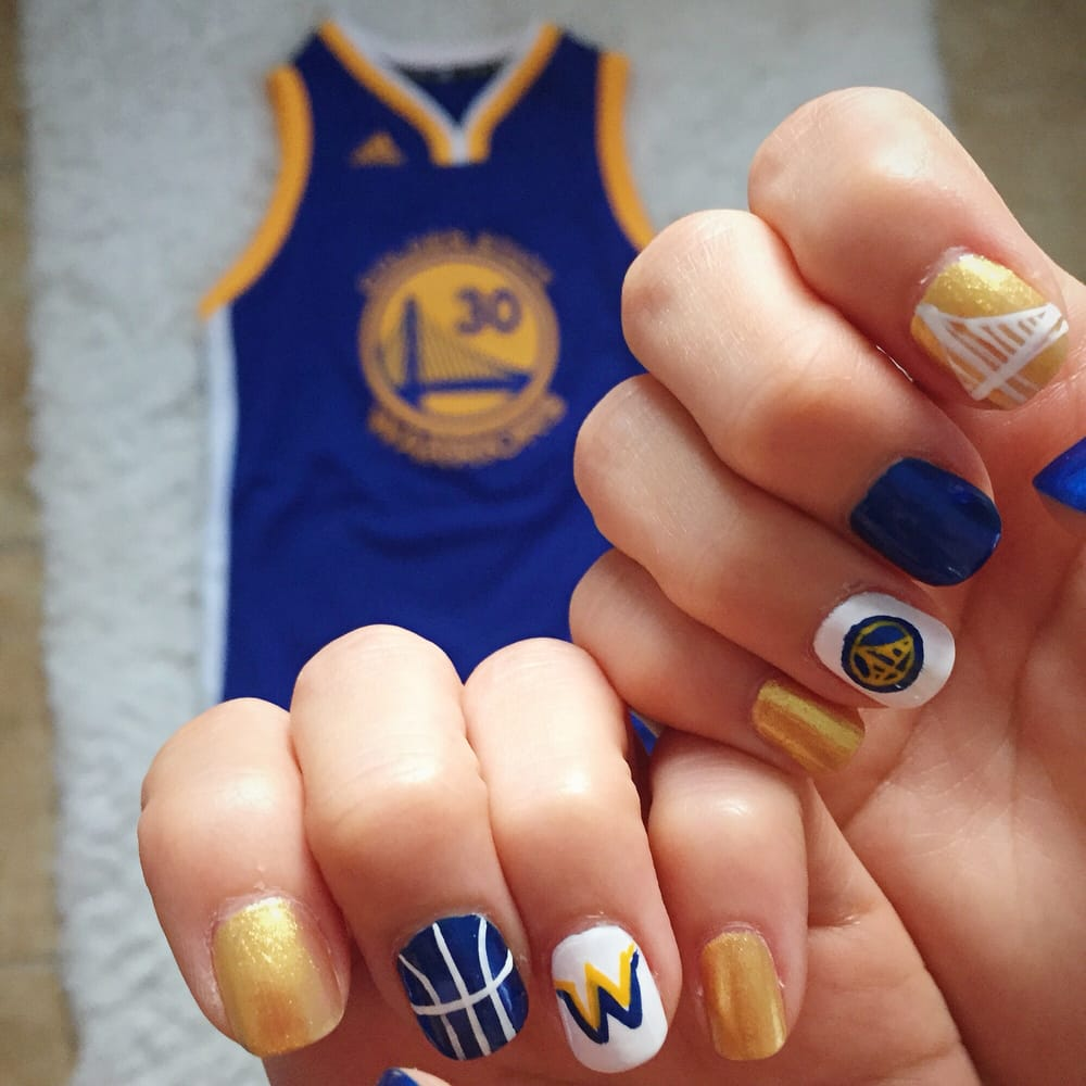 Warriors themed nail art for the playoffs~ - Yelp
