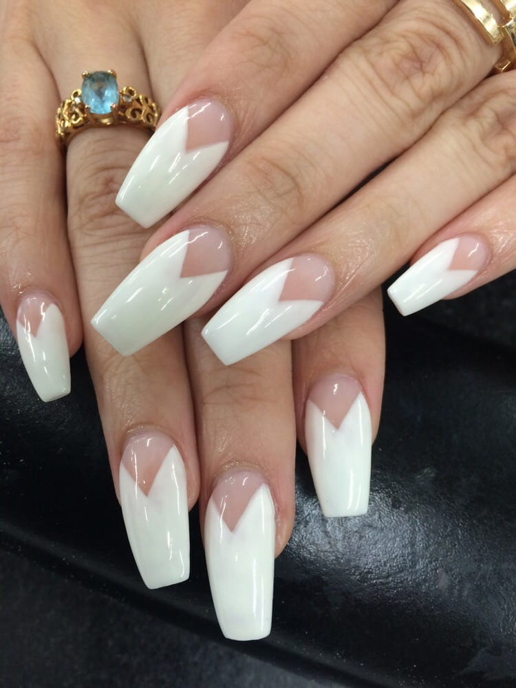 My new coffin V-French tips acrylic by Christine. - Yelp