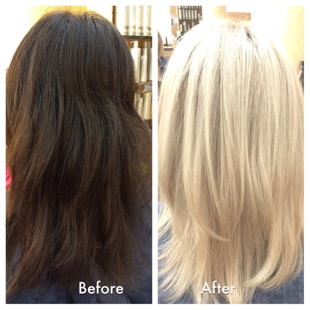 By cori color correction dark brown hair to platinum for 2 blond salon reviews