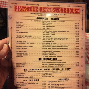Pinnacle Peak Restaurant Menu