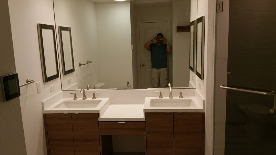Wall To Wal Double Vanity With Waterfall Quartz Drop Down