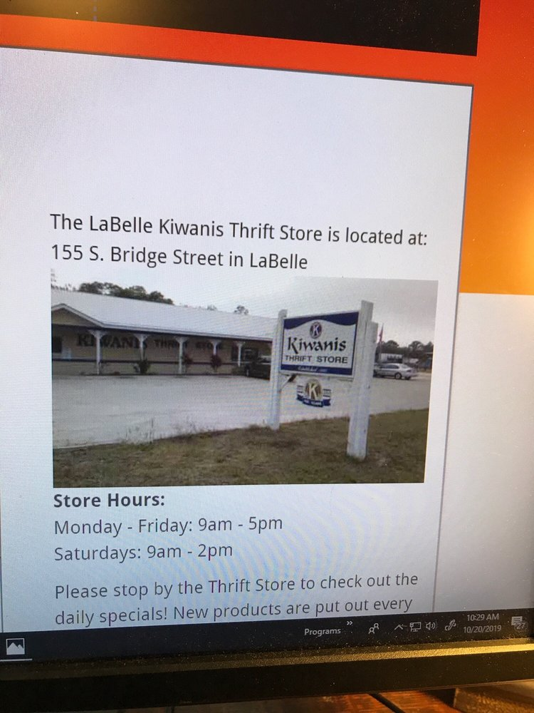 Kiwanis Thrift Store: 155 Bridge St, LaBelle, FL
