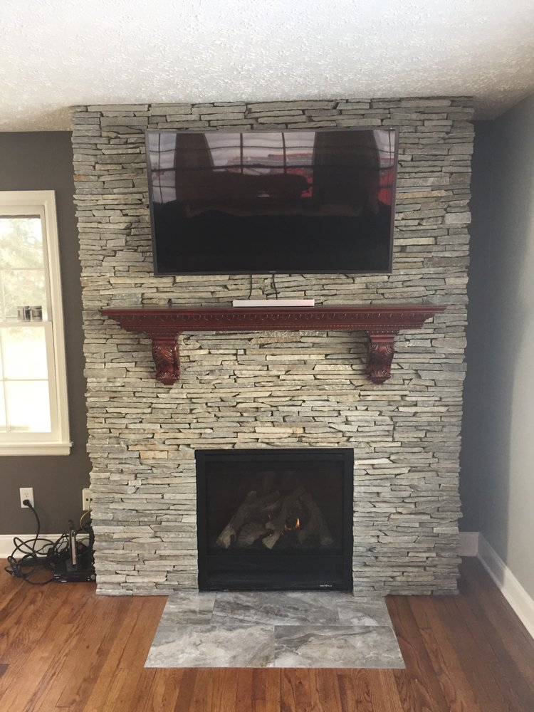 Finished Stone Wall W New Gas Fireplace Hearth Installed Mantle