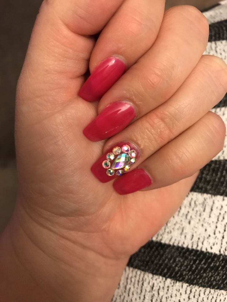 Hot Pink Coffin with diamonds and Gel. Gel is $10 extra.. (not a ...