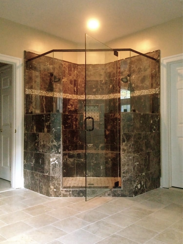 Neo Angle Frameless Shower Glass Enclosure with Header - Yelp