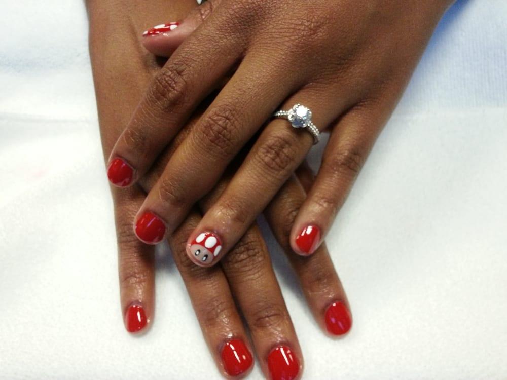 Traditional mani with super mario nail art. - Yelp