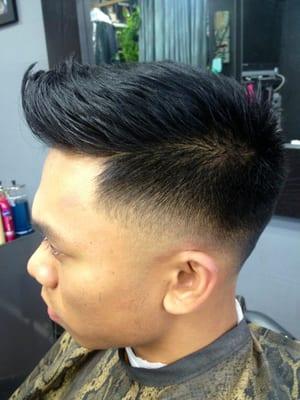 Faux hawk w High Skin Taper Fade aka Low Skin fade Cut