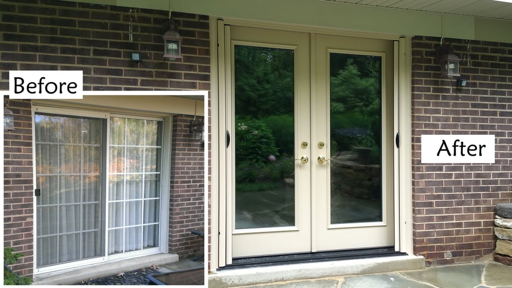 Replace sliding glass patio door with provia heritage for Sliding glass door to french door
