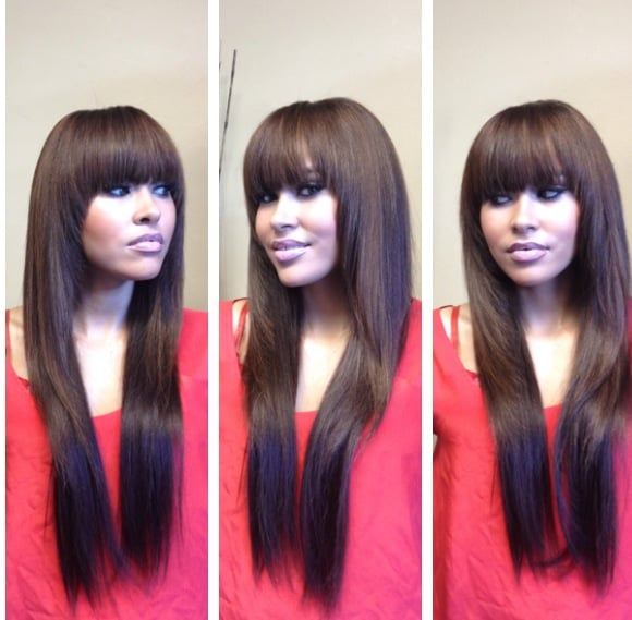 Full sew in weave with bangs and fringed layers minimal hair was photo of art of beauty hair studio san francisco ca united states pmusecretfo Choice Image