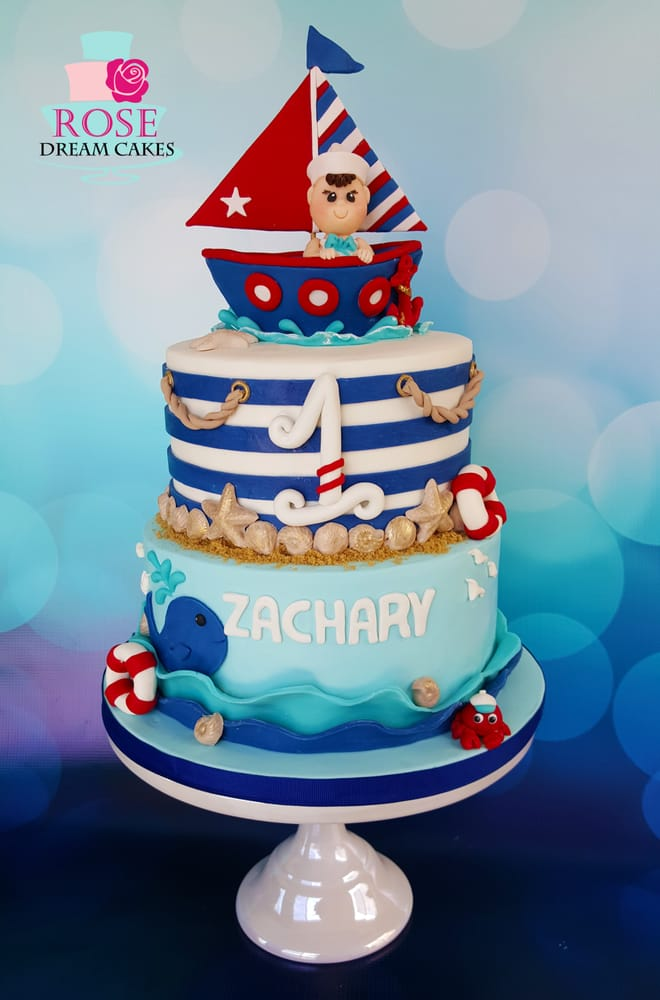 Nautical Theme Baby Birthday Cake With Custom Edible Topper From