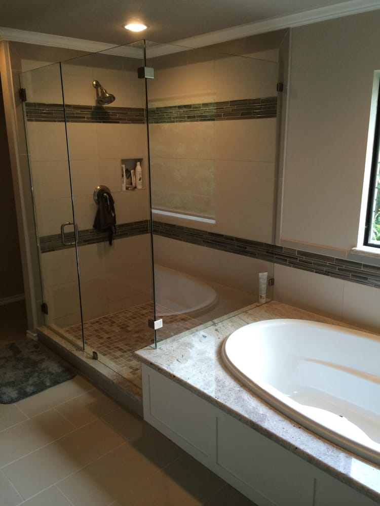 New Walk-In Tile Shower with frame-less enclosure, Drop-In Soaker ...