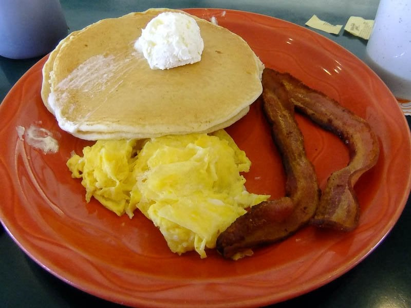 Pancakes, scrambled eggs and bacon - Yelp