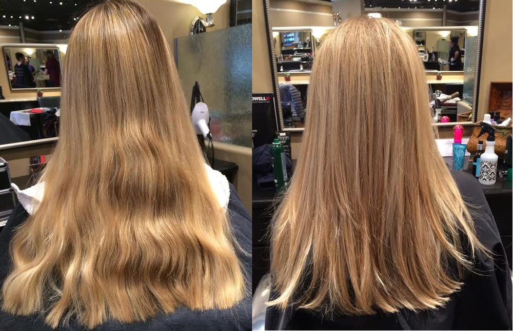 Before after beige highlights with copper gold low lights to warm up her color by irene yelp for Image joli salon
