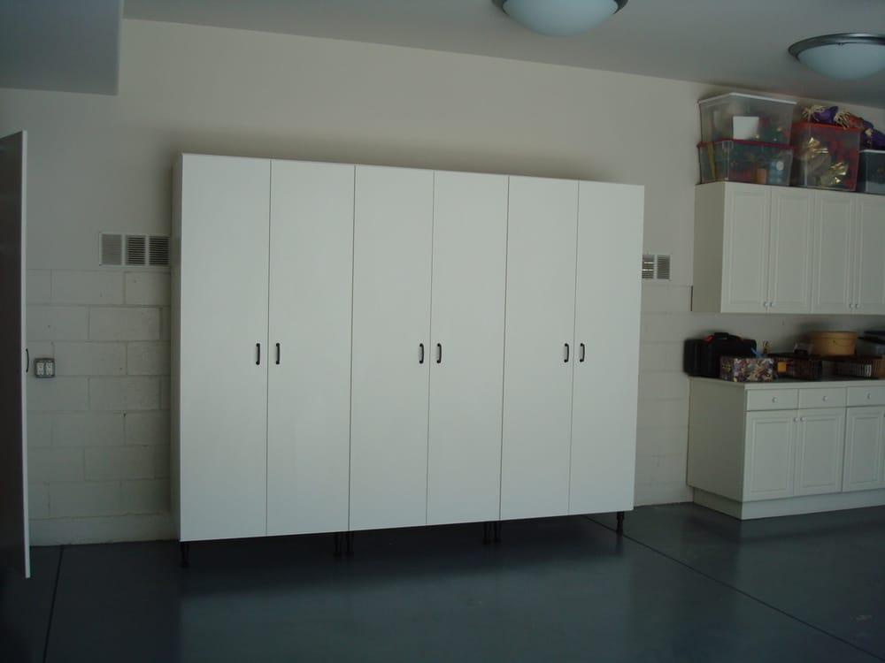 Basic White Melamine Garage Cabinets Yelp