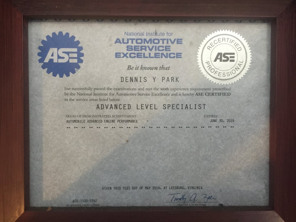 Ase Certified With Additional Qualification As An Advanced Level
