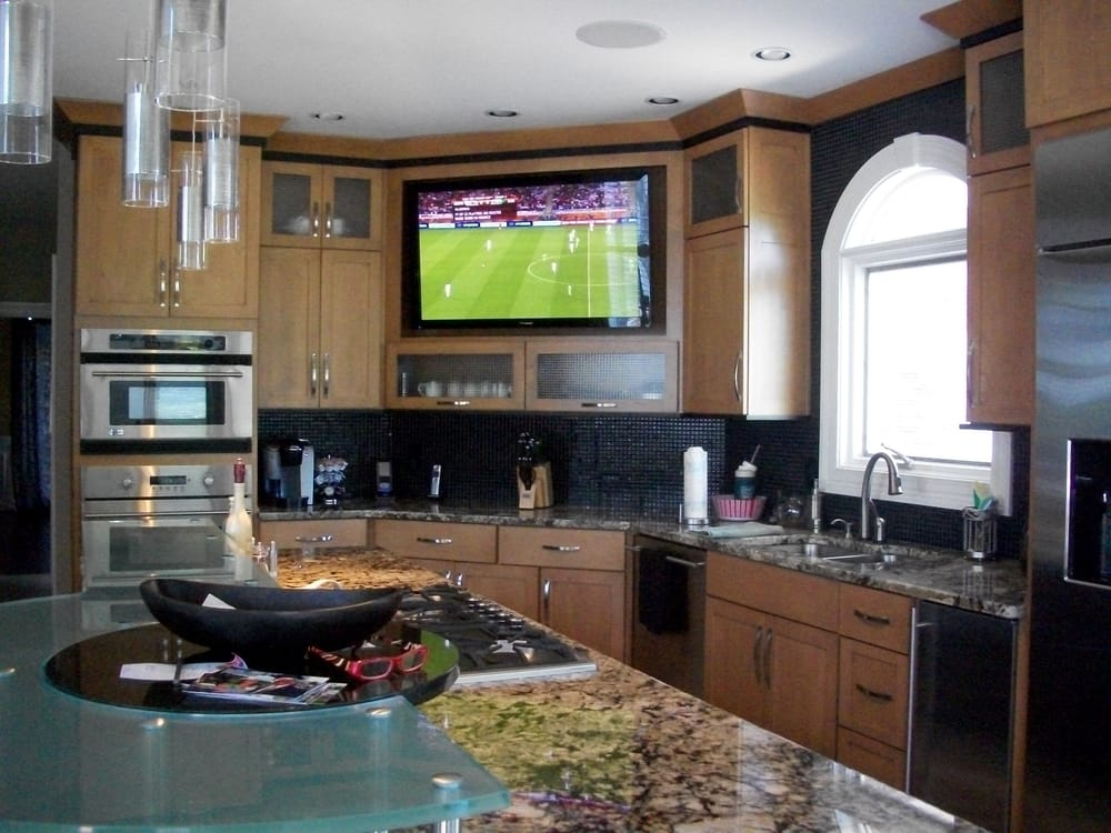 tv in kitchen ideas large built in tv in kitchen yelp 22442