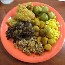 ... Brussels sprouts, corn, fried okra, BBQ pulled pork, chicken livers