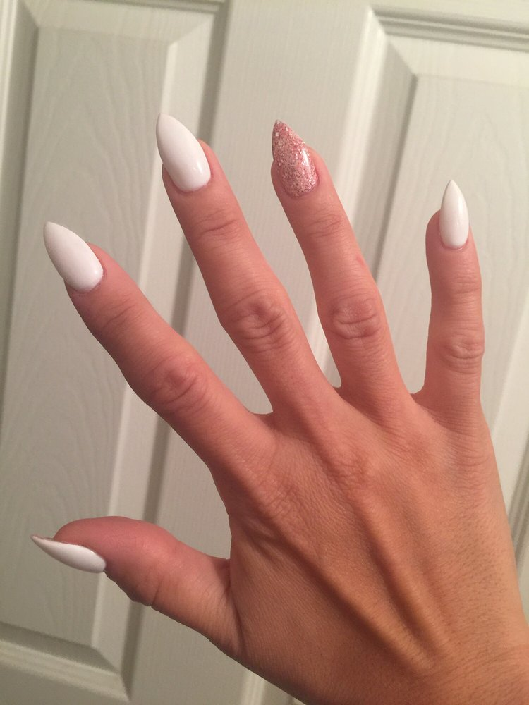Short stiletto acrylic white gel nails with glitter pink ...
