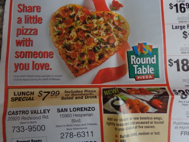 Large Heartshaped Pizzas Available On Original Crust By Request - Round table lunch special