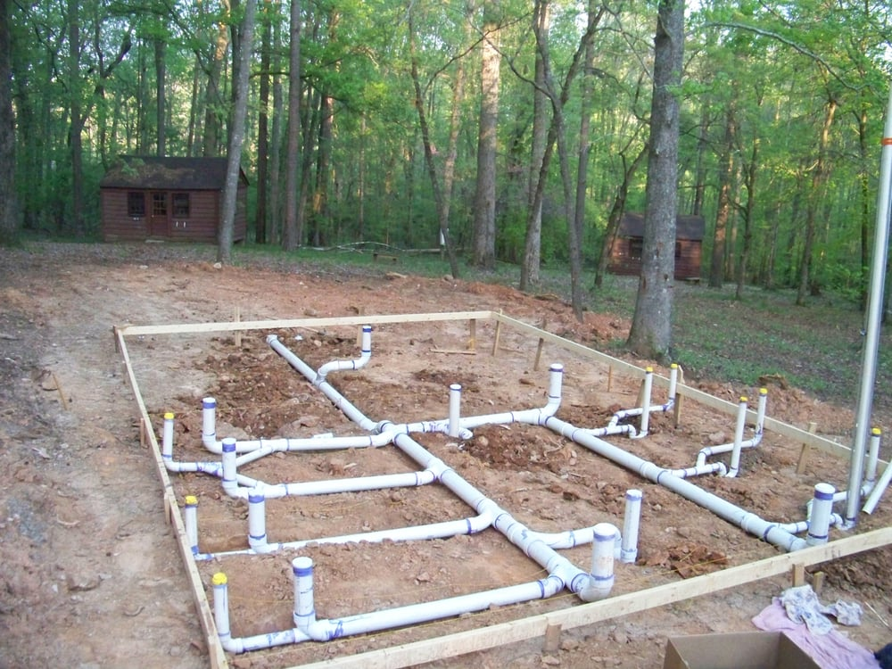 The under slab plumbing for a new bath house at camp for Plumbing a new house