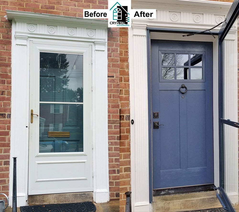 Crystal Exteriors Provia Craftsman Style Fiberglass Entry Door