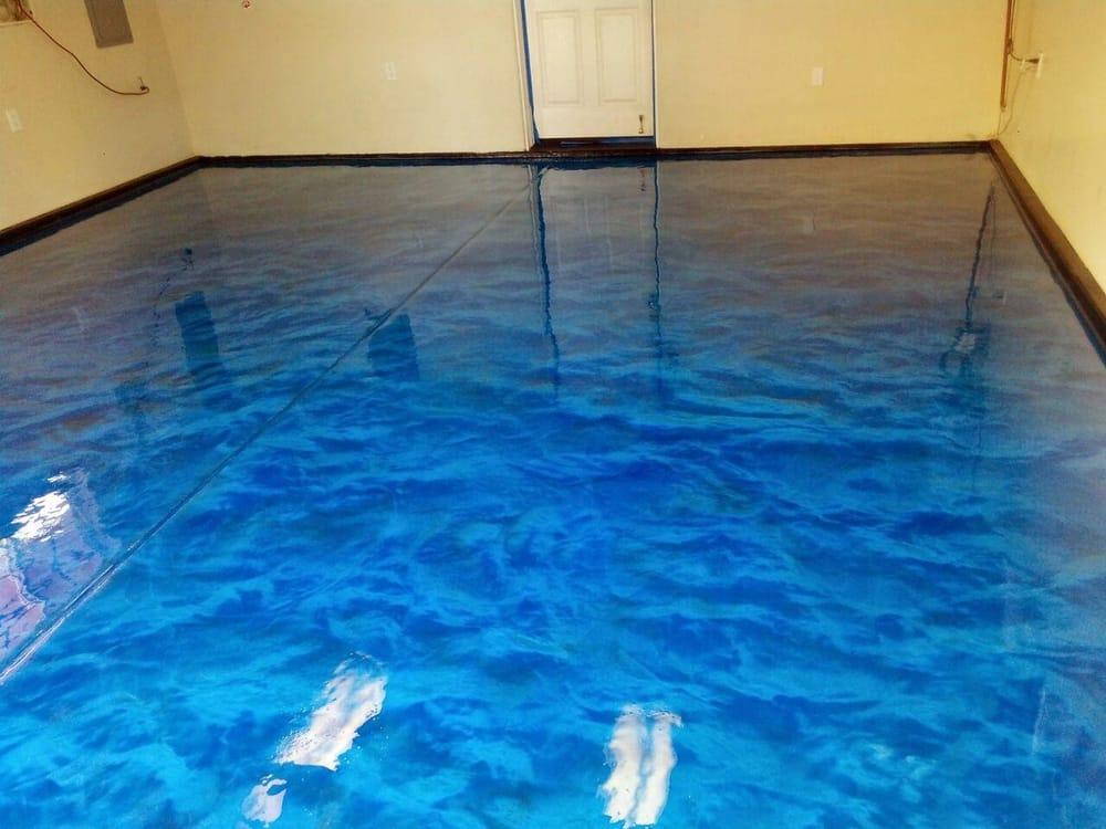 Ocean Blue Metallic Epoxy Floor Installed With Spartaflex