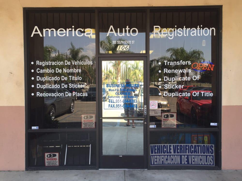 America Auto Registration: 500 S State St, San Jacinto, CA