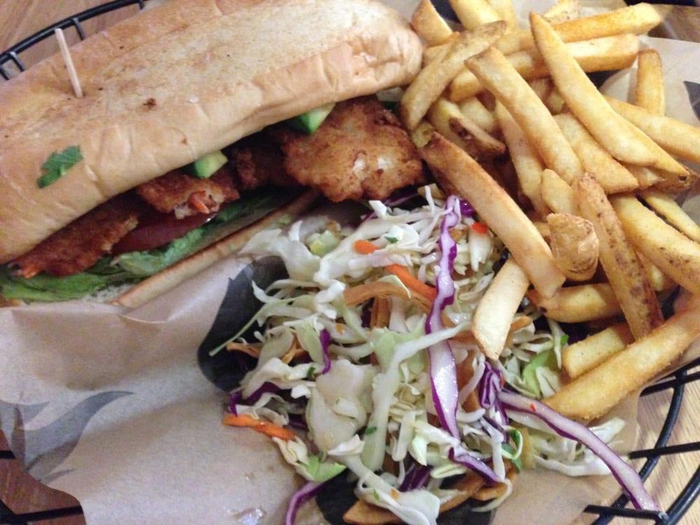 California shrimp po boy fries and slaw yelp for Seasalt fish grill