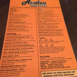 avalon downtown menu