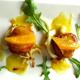 Giostra NY - Tappan, NY, United States. Prosciutto Wrapped Scallops with Fennel and Arugula