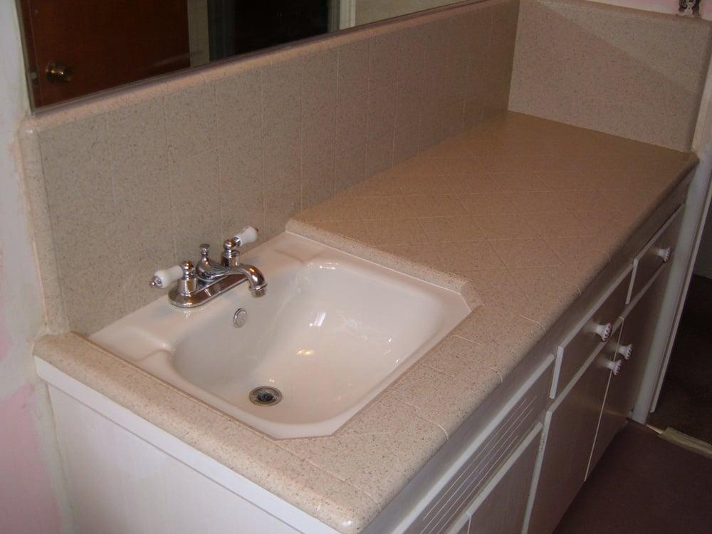 Bath vanity top sink after refinishing in stonelike finish yelp for Resurface bathroom vanity top