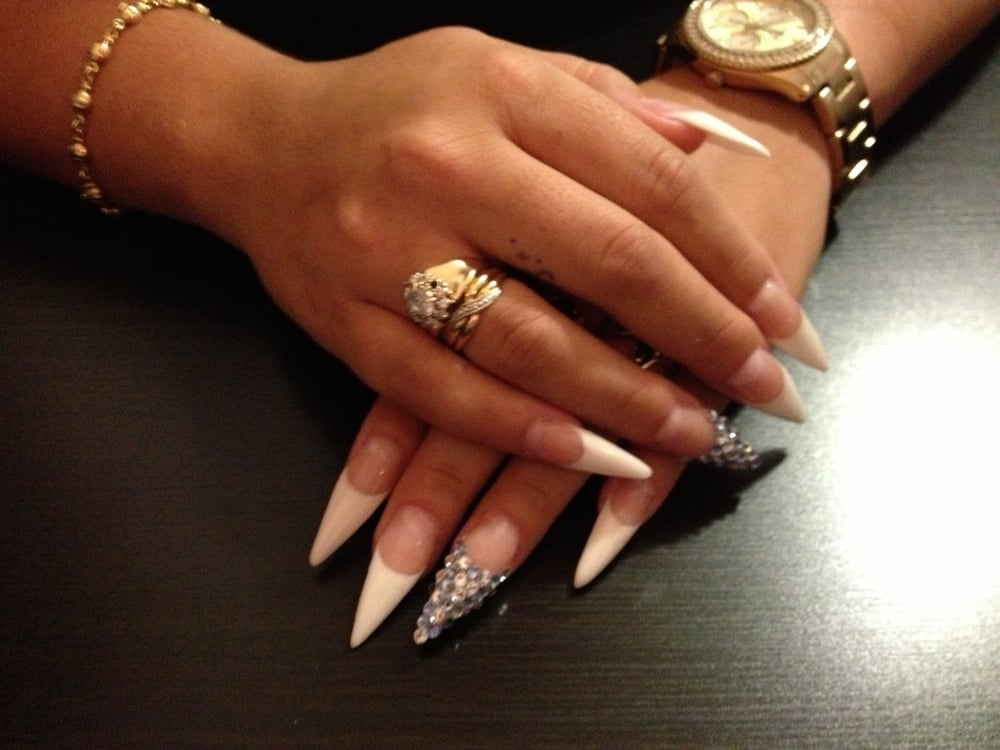 French Stiletto Nails with Swarovski Crystals - Yelp