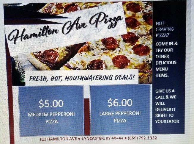 Hamilton Avenue Pizza: 112 Hamilton Ave, Lancaster, KY
