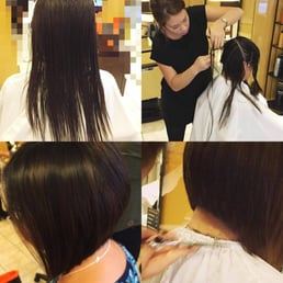 Asymmetrical bob cut by soomi yelp for Aate beauty salon