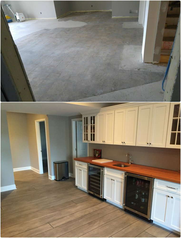 Before And After Concrete Wood Basement Floor The