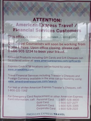 American Express Travel Services Closed Travel Services 650