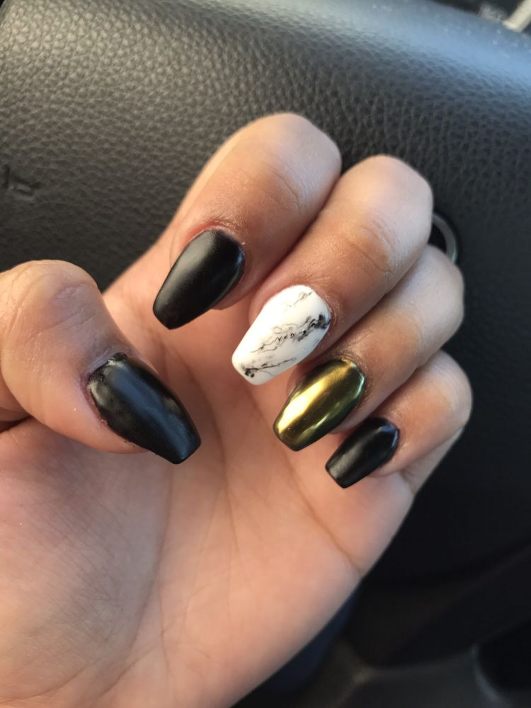 Matte black nails with gold chrome and marble accent - Yelp
