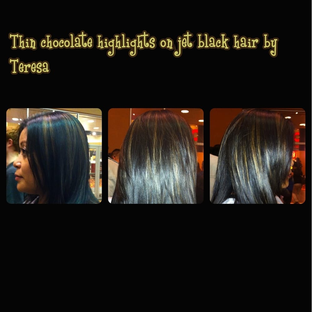 Thin Chocolate Highlights On Jet Black Hair Yelp