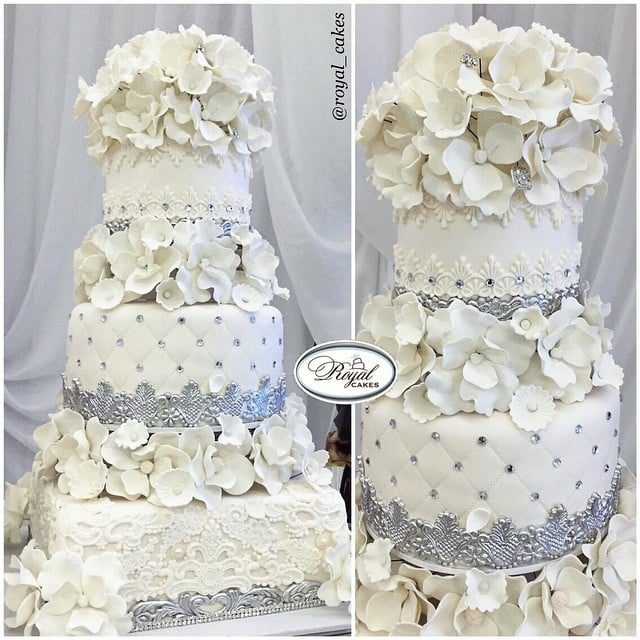 White Wedding Cake With Beautiful Handmade Sugar Flowers Royal - Wedding Cakes Los Angeles