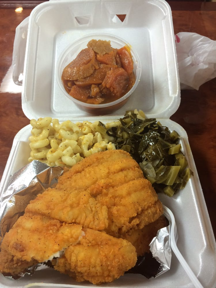 Fried fish dinner fried flounder candy yams macaroni for Fried fish dinner
