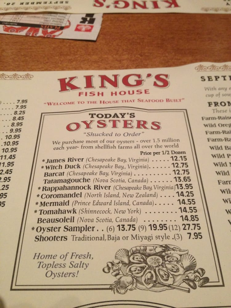 A variety of oysters yelp for King s fish house menu