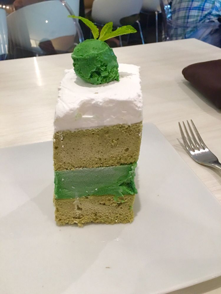 famous green tea ice cream cake it was too hard for my taste yelp