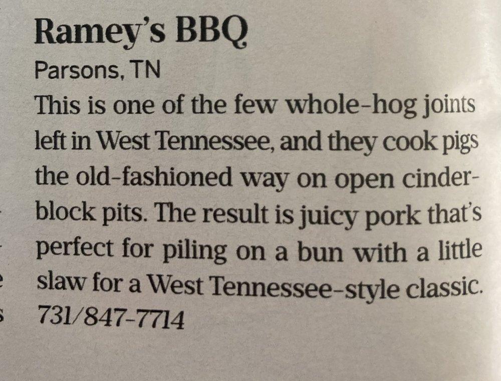 Ramey's BBQ: 14 E Holley St, Parsons, TN
