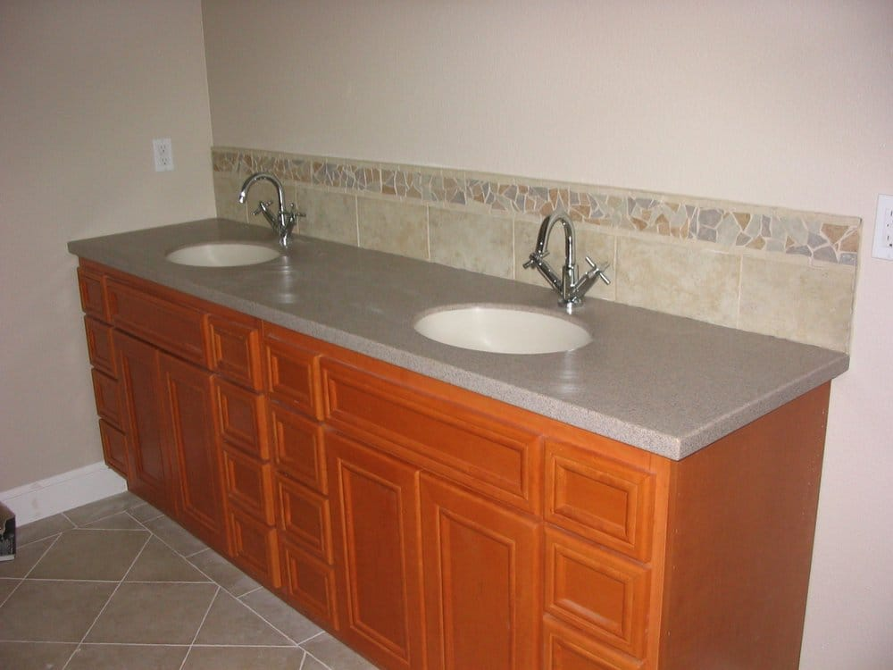 Corian Vanity Countertops : Corian vanity top with tile backsplash yelp