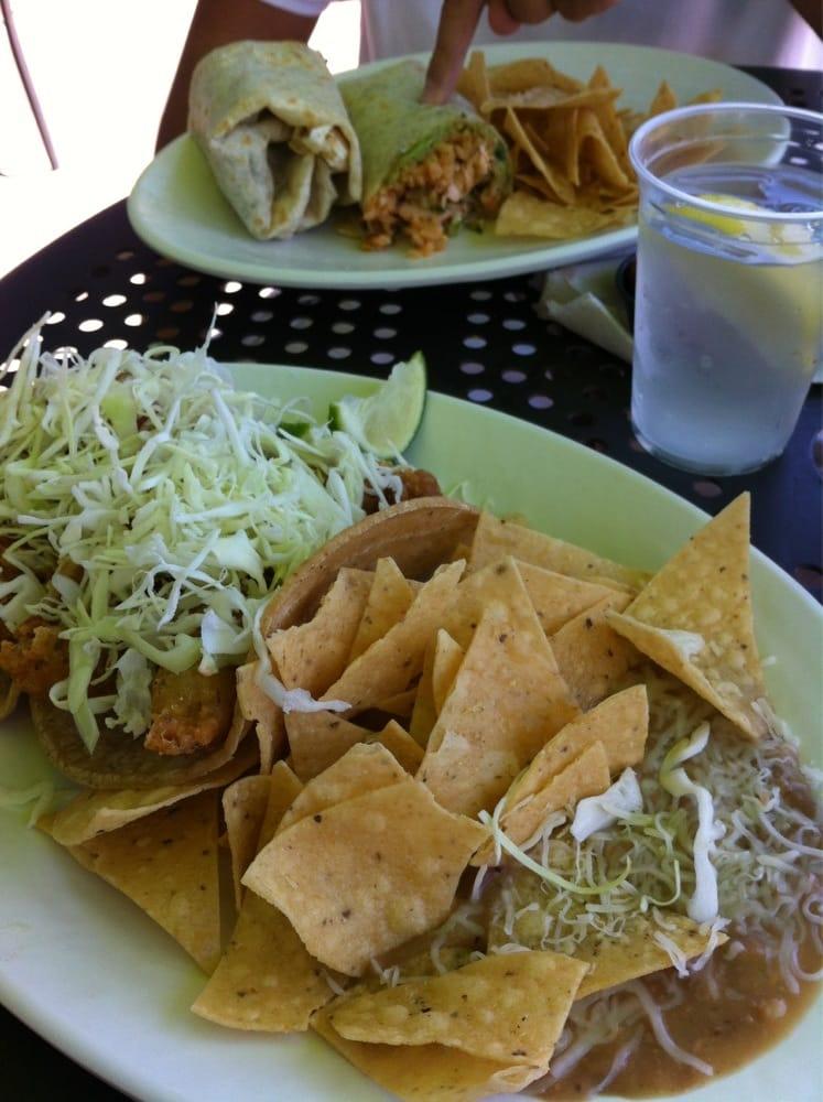 Front delicious fish taco combo back scrumptious salmon for Rubio s coastal grill the original fish taco